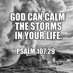 Psalms 107: 29 He stilled the storm to a whisper; the waves of the sea were hushed.